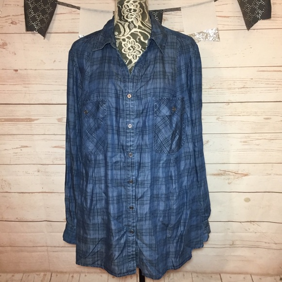 03df8818 Style & Co Tops   Styleco Chambray Plaid Button Down Shirt Size 3x ...